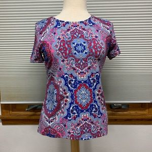 Talbots blue/red/pink patterned T-shirt